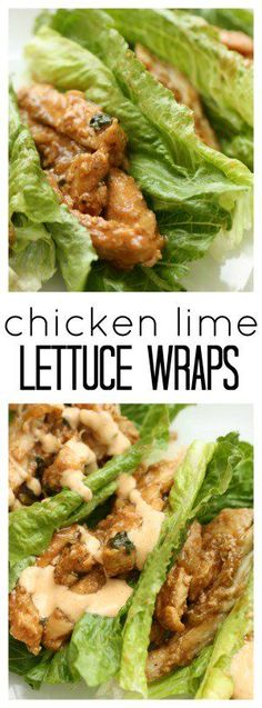 Chicken Lime Lettuce Wraps from SixSistersStuff.com | Healthy Dinner Recipes | Gluten Free Dinners | Easy Meal Ideas (Low Carb Dinner Recipes)