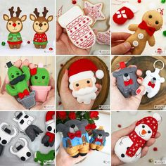 Diy Xmas Ornaments, Handmade Ornaments, Christmas Decorations, Felt Diy, Felt Crafts, Diy And Crafts, Christmas Crafts To Sell, Felt Embroidery, Projects