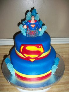 Check this cake out Stacey - Superman with rock candy