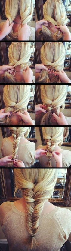 10 Charming Braided Hairstyles Tutorials for Summer Simple Fishtail Braid Tutorial Fishtail Braid Hairstyles, Braided Hairstyles Tutorials, Pretty Hairstyles, Hairstyle Ideas, Fishbone Braid Tutorials, Fishtale Braid Tutorial, Classy Hairstyles, Diy Hairstyles, Tips Belleza