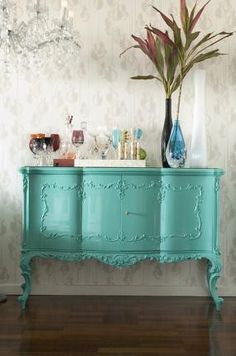 We All Love Turquoise That was apparent after I browsed through all of last week& links in Mod Mix Monday. Lots of turquoise painted. Turquoise Furniture, Turquoise Table, Turquoise Dresser, Turquoise Cottage, Turquoise Color, Vintage Furniture, Painted Furniture, Painted Sideboard, Painted Chest