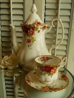 Royal Albert Old Country Roses Coffee Pot 42 oz. I have place settings for along with serving dishes, tea pot & coffee pot.