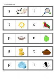 English worksheet: First letter sound dominoes (satpin) for use with Jolly Phonics book 1