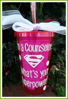 Counselor Tumbler-Personalized 16 oz acrylic tumbler-I'm a Counselor- What's your Superpower-Go Green-Pick you Vinyl Color Middle School Counseling, College Counseling, Counseling Activities, School Counselor, Guidance Lessons, Staff Appreciation, Teacher Gifts, School Info, School Ideas