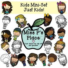 Kids Mini Clipart Set: Just Kids! [Miss P's Place]  This is a super fun Mini Set that contains 21 total images of kids being kids; you will find two different poses where kids are waving or holding books! You will get 6 black and white images for your use in worksheets or other educational resources. You will also get 15 colorful graphics that have fun colors and patterns.