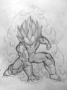 [Fan Art] [OC] Not too fond of the new SSB Vegeta's look, but I drew him anyway in his Buu Saga outfit : dbz