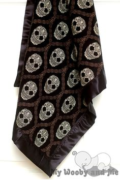 Skull Damask in Mud Minky Baby Blanket with Satin by MyWoobyandMe, $26.99