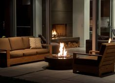 outdoor fire feature for harsh North American winters