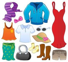 Illustration of Clothes theme collection 1 - vector illustration vector art, clipart and stock vectors. Gift Card Printing, Romantic Themes, Free Art Prints, Clothes Pictures, Vector Clipart, Small Art, Free Illustrations, Line Design, Clip Art