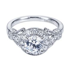 In love with this 14k White Gold Victorian Halo Engagement Ring!