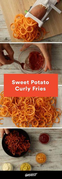 """Fryday"" just got even better. #sweet #potato #curly #fries https://greatist.com/eat/spiralized-sweet-potato-curly-fries-recipe-video"