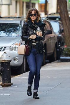 Dakota Johnson wearing Alexander McQueen the Box Leather Shoulder Bag and Isabel Marant Carlton Wool and Silk Blend Scarf in New York City October 16, 2015.