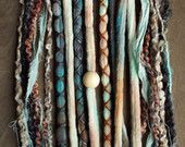 10 Mixed Native & Sand Tie-Dye Wool Synthetic Dreadlock *Clip-in or Braid-in Extensions Boho Dreads Hair Wraps and Beads Custom