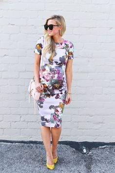 Floral Baby Bump + Yellow Heels