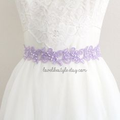 Lavender  Beaded Lace with Lavender  Ribbon Sash or Headband, Bridal Sash, Bridesmaid Sash, Flower Girl Sash, SH-43
