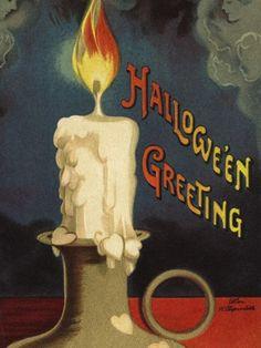 Photographic Print: Hallowe'en Greeting Poster by Ellen H. Victorian Halloween, Vintage Halloween Images, Vintage Halloween Decorations, Halloween Candles, Retro Halloween, Halloween Pictures, Spirit Halloween, Holidays Halloween, Spooky Halloween