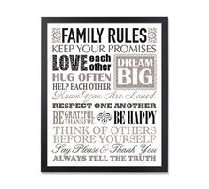 Family Rules Sign Family Rules Printable Family Rules Print