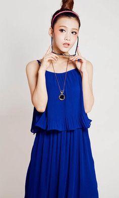 women dress blue dress summer dress one piece skirt chiffon lace via Etsy