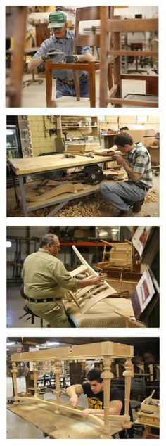 Highly skilled craftsmen hard at work building and perfecting the gorgeous solid wood, made in America furniture that Gallery Furniture so proudly offers! | Houston TX | Gallery Furniture |
