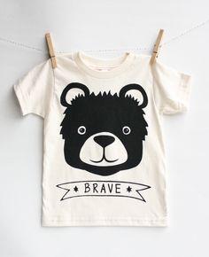 Brave bear - organic, kid's hand printed t-shirt