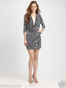 DVF Diane von Furstenberg Rachel Silk Georgette Dress Leopard Leaves US 8 $425