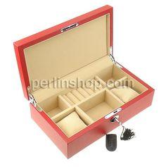Kosmetikkasten, Holz, mit Leder & Baumwollsamt & Zinklegierung, Rechteck, Platinfarbe platiniert, rot, frei von Nickel, Blei & Kadmium