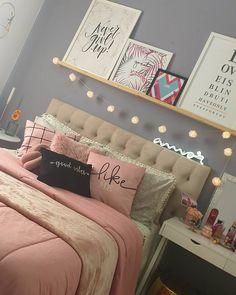 Teen Bedroom Designs, Cute Bedroom Ideas, Bedroom Bed Design, Cute Room Decor, Teen Room Decor, Room Ideas Bedroom, Home Room Design, Small Room Bedroom, Home Decor Bedroom