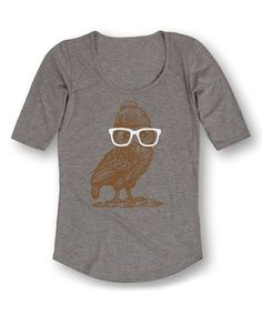 Look what I found on #zulily! Athletic Heather Nerd Owl Three-Quarter Sleeve Tee…
