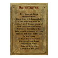 Personalised medieval wedding invitations gothic for Tudor menu template