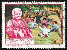 ITALY - CIRCA 1970: a stamp printed in the Italy shows Dr. Maria Montessori and Children, Educator and Physician, circa 1970 photo