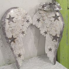 White angel wings silver stars with vintage style foil leaf crown inspired by 1950's parades home decor Anita Spero Design