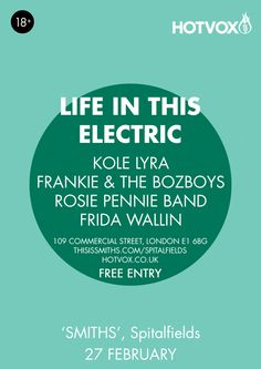 Friday sorted at Spitalfields with Hot Vox - Life In This Electric Kole Lyra Frankie & The Bozboys Rosie Pennie Band and Frida Wallin