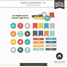 Free Planner Printables  from My Digital Art Studio  {DigiScrap Parade August 2015: World Geography 101}