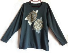 MARIMEKKO Gray Floral Women's Top Neutral Color Long Sleeves Cotton Top L Size Women's Shirt Clothing by Marimekko Everyday Clothing Vintage by Vintageby2sisters on Etsy