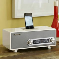 Plug and play. Crosley makes vintage-style radios that marry old-school aesthetics with modern-d. Radios, Home Office Accessories, Docking Station, Retro Design, Graphic Design, West Elm, Decoration, Modern Furniture, Sweet Home