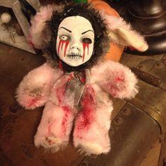 Creepy OOAK pink Bunny Rabbit Easter Custom plush Tears Of Blood
