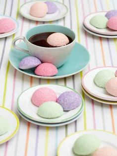 Marshmallow Puffs in Pastel Pink, Purple and Green.
