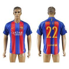 Barcelona 16-17 #Dani Alves 22 Hjemmebanetrøje Kort ærmer,208,58KR,shirtshopservice@gmail.com