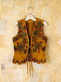 Vintage Leather Floral Painted Vest at Free People Kurti With Jacket, Jacket Style Kurti, Jacket Dress, Kurti Designs Party Wear, Kurta Designs, Saree Blouse Designs, Stylish Dress Designs, Stylish Dresses, Fashion Dresses