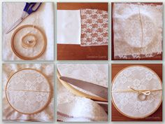DIY Bastidor de encaje para alianzas.  Lace Embroidery hoop frame for wedding rings.  Step by step at our blog. http://dandelion-events.com/?p=4613