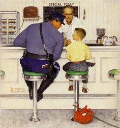 Love his work. The late Norman Rockwell. Norman Rockwell painting Norman Rockwell - I love his artwork! Looking at Art with Kids: Norman Rockwell Art is a wonderful platform to teach children a variety of subjects. Norman Rockwell Prints, Norman Rockwell Paintings, Peintures Norman Rockwell, La Fugue, Illustrations, Illustration Art, American Illustration, Retro, Canvas Wall Art