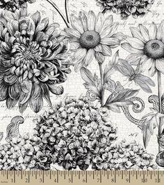 Tim Coffey Premium Quilt Fabric Floral Master Black