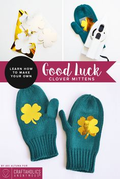 St. Patrick's Day shamrock mittens || Share the good luck!