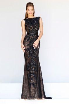 Formal Sheath Bateau Neck Backless Long Black Lace Beaded Evening Prom Dress With Belt $195