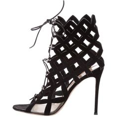 Pre-owned Gianvito Rossi Suede Cage Sandals ($495) ❤ liked on Polyvore featuring shoes, sandals, black, black sandals, laced sandals, caged shoes, cage sandals and black laced shoes
