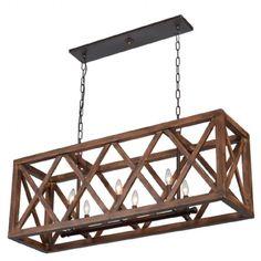 Luminaire suspendu de forme rectangle au fini bronze et bois noyer.