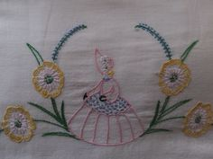 PAIR VINTAGE HAND EMBROIDERED SOUTHERN BELLE SOFT COTTON PILLOWCASES