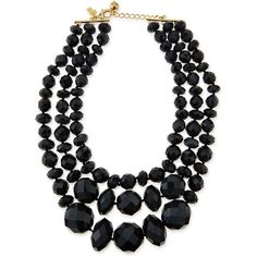 kate spade new york give it a swirl faceted bead necklace (320 BRL) ❤ liked on Polyvore featuring jewelry, necklaces, accessories, bijoux, collares, black, collar necklace, 14k chain necklace, chain necklace and beaded necklaces