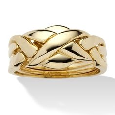 14k Yellow Gold-plated Tailored Interwoven Puzzle Ring