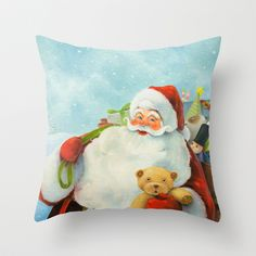 """Merry Christmas! by Jinwoo Kim  DESCRIPTION Throw Pillow Cover made from 100% spun polyester poplin fabric, a stylish statement that will liven up any room. Individually cut and sewn by hand, the pillow cover measures 16"""" x 16"""", features a double-sided print and is finished with a concealed zipper for ease of care. Does not include pillow insert.   ABOUT THE ART This is an oil painting of Santa Claus. A bright image was created by using light and crisp colors on top of the traditional image…"""